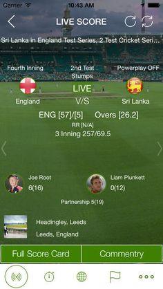 Live Cricket score card.