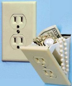 "Hidden Wall Safe $4.99 at Bed Bath & Beyond stores    It looks like an ordinary wall socket, but it's actually a mini wall safe. The compartment behind the socket is the perfect place to keep money, jewelry and other valuables. Easy to install. Measures 7 3/4"" L x 3 1/2"" W x 2 3/4"" D. One-year limited warranty."