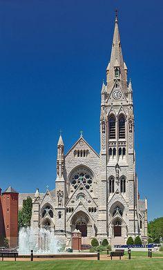 English Gothic - Saint Francis Xavier Roman Catholic Church, in Saint Louis, Missouri, USA - exterior front