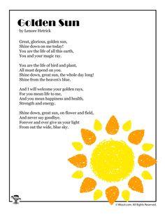 Golden Sun Poem About Summer | Woo! Jr. Kids Activities : Children's Publishing