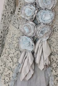 Cashmere Roses - made from salvaged cashmere sweaters and lace, then sewn onto a scarf - Ozma of Odds
