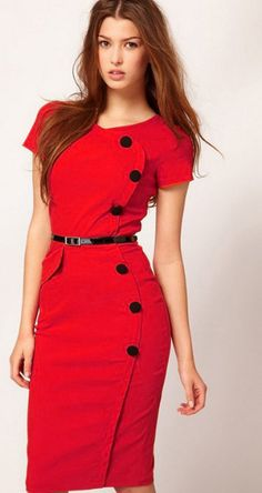 Red Short Sleeve Belt Dress