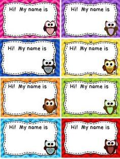 Name Tags / Blank Labels - Owls and Chevron Theme - FREE