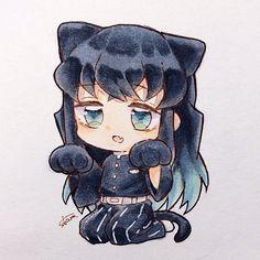 Anime Chibi, Kawaii Anime, Anime Art, Anime Drawings Sketches, Anime Sketch, Demon Slayer, Slayer Anime, Anime Eyes, Anime Demon