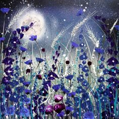 ARTFINDER: Distant memories of the moon by Jane Morgan - This is a vivid sparkling original of blue and deep purple flowers in the moonlight. My moon is layered with inks and finished with pearl acrylic so it shine...