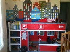 How adorable is this? The quintessential IKEA toddler bed, transformed into a firetruck!