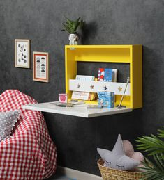 Buy Tinseltown Wall Mounted Writing Desk with Storage by Lycka Online - Kids Study Tables - Kids Study - Kids Furniture - Pepperfry Product Wooden Storage Boxes, Desk Storage, Storage Ideas, Solid Wood Furniture, Kids Furniture, Floating Nightstand, Floating Shelves, Wall Mounted Desk, Kids Study