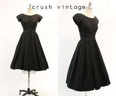 50s Rhinestone Dress XXS / 1950s Vintage Black Party Dress / Twinkling Stars Frock by CrushVintage on Etsy https://www.etsy.com/listing/224853377/50s-rhinestone-dress-xxs-1950s-vintage