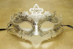 Silver Filigree with Laser Cut Design Rhinestones Venetian Masquerade Mask Costume Party Dance MEP001SL Glitter Collection Prom