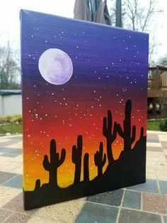 Items similar to cacti sunset silhouette painting on etsy Simple Canvas Paintings, Easy Canvas Art, Small Canvas Art, Easy Canvas Painting, Mini Canvas Art, Cute Paintings, Sunset Painting Easy, Sunset Paintings, Cactus Painting