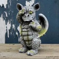 NEW Cute Garden Dragon Ornament Stone Effect Sleeping Statue Gargoyle Sculpture