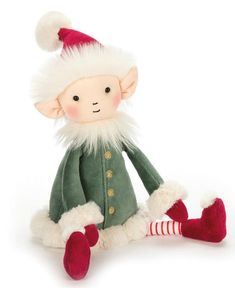Buy Jellycat: Leffy Elf - Large at Mighty Ape NZ. Leffy Elf is a helpful pal, making toys and games for Santa. It's cold at the North Pole, so Leffy's cheeks are as red as those boots and candycane so. Christmas Toys, Christmas Presents, Christmas Ornaments, Christmas Ideas, Preschool Christmas, Christmas Design, Christmas 2017, Elf Toy, Xmas Wishes