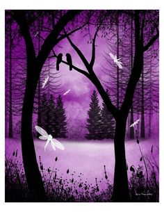 Items similar to Fantasy Forest Tree Art Print - Before Ever After -- Trees and Dragonflies on Etsy Art Violet, Purple Art, Purple Love, All Things Purple, Shades Of Purple, Purple Stuff, Fantasy Forest, Fantasy Art, Fantasy Landscape
