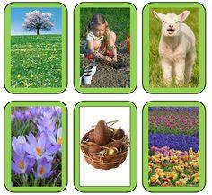 Kaarten lente Je kan deze gebruiken als memory of om te sorteren op seizoen.