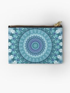 Turquoise and Navy Mandala Zipper Pouch by Kelly Dietrich