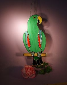 Stained Glass Suncatcher Eclectus Parrot Male  (667) by StainedGlassbyWalter on Etsy