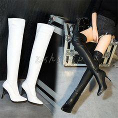 Gr.30-48 Winter Overknee Damen High Stilettos Heels Kunstleder Stiefel Elegant