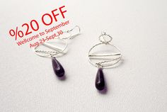Hand Made Silver Geometric Earrings, Sterling Silver Sun And Moon With Purple Stone, Modern, Minimalist & Chic Design