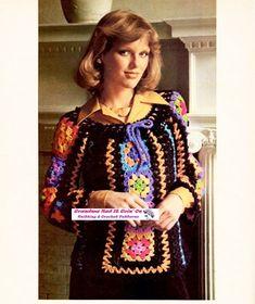 Vintage Crochet Peasant Sweater Pattern  70s by GrandmaHadItGoinOn