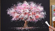 How To Draw A Cherry Tree In Acrylic - Sakura Q-tip Pai .- So zeichnen Sie einen Kirschbaum in Acryl – Sakura Q-tip Painting Techniques – Y… How To Draw A Cherry Tree In Acrylic – Sakura Q-tip Painting Techniques – YouTu … - Sakura Painting, Cherry Blossom Painting, Cherry Blossom Tree, Blossom Trees, Cherry Tree, Cherry Cherry, Blossoms, Q Tip Painting, Acrylic Painting Techniques