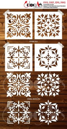 4 Tile Design Digital Stencils - SVG DXF Template cut files - diy Vinyl Decal die Cutting Crafts Sil - - pinupi love to share Stencils, Stencil Templates, Stencil Patterns, Stencil Painting, Stencil Designs, Paint Designs, Damask Stencil, Jaali Design, Tile Art