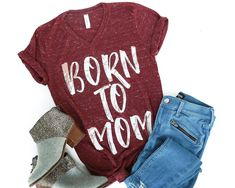 424fdfd94 Born To Mom Maroon Marble V-Neck Tee Declan And Crew, Mama Cloth,