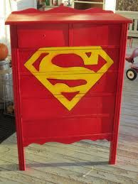 superman dresser Superman Nursery, Superman Room, Superhero Room, Upscale Furniture, Cool Furniture, Furniture Ideas, Boy Dresser, Dressers, Bude