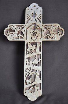 Nativity  Scrolled Wooden Cross Wall Hanging on Etsy, $35.00