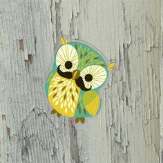Mustache Owl Sticker #owl #sticker #mustache