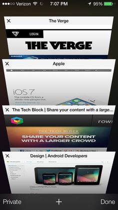 safari tabs iOS 7 screenshots Ios 7 Design, Mobile Ui Design, Android Developer, User Interface, Mobile App, Apps, Digital, Safari, App