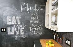 Chalkboard wall in the kitchen