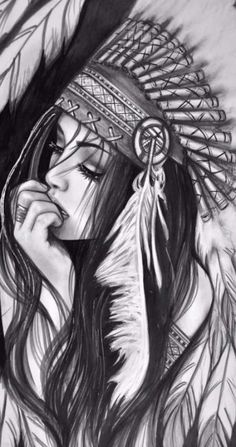 Tattoo disney drawings Ideas - Tattoo disney drawings Ideas Best Picture For girl tattoo simple For Your Taste You a - Native American Drawing, Native American Tattoos, Native Tattoos, Native American Girls, Warrior Tattoos, Kunst Tattoos, Body Art Tattoos, Sleeve Tattoos, Pencil Art Drawings