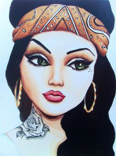 """Chola portrait with bandana and black and grey rose tattoo print of original watercolor 5x7, 8x10, or 12x18  """"La Green Eyes"""" on Etsy, $15.00"""