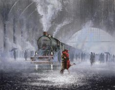 steampunktendencies: by Artist Jeff Rowland ~Rain, Trains, Lovers Motor A Vapor, Train Art, Oeuvre D'art, Art Pictures, Art Photography, Steampunk, Images, Art Gallery, Fine Art