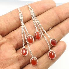 925 Sterling Silver Jewelry Lovely Dangling Earrings Natural CARNELIAN Gemstones #Unbranded #DropDangle