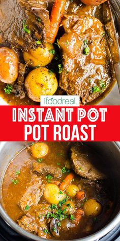 Instant Pot Pot Roast with chuck or rump roast in as little as hours. You can also add baby carrots and potatoes to make this dinner a one pot meal. Comforting meal with tender (not mushy) vegetables fall apart beef and delicious gravy! Healthy One Pot Meals, Healthy Beef Recipes, Pot Roast Recipes, Cooking Recipes, Roast Beef And Potatoes, Roasted Potatoes And Carrots, Baby Carrots, Instant Pot Pot Roast, Instant Pot Dinner Recipes