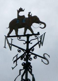 elephants and wind-vanes! Elephant Ride, Elephant Art, Indian Elephant, Weather Vain, Blowin' In The Wind, Lightning Rod, Shadow Silhouette, Water Tower, Greek Gods