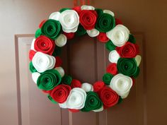 Christmas Wreath - Holiday Wreath - Red, White and Green Christmas Felt Wreath - 18 inch