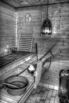 Sauna - *Soapstone tiles retain the heat and is not slippery when wet. Traditional Saunas, Sauna Steam Room, Outdoor Sauna, Finnish Sauna, Best Cleaning Products, Infrared Sauna, Home Spa, Painted Doors, Bath Time