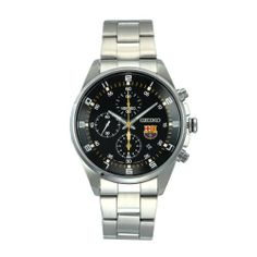 Seiko - Men's Watches - Seiko Fcb Barcelona - Ref. SNDD23P1 Seiko. $141.24. Black dial with arabic numerals; official FC Barcelona logo. 10ATM water resistant. Brushed and polished stainless steel case and bracelet. Chronograph and date functions. Hardlex glass