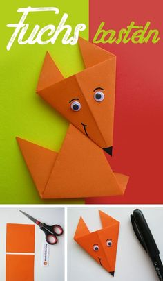 Tinker fox: Instructions for origami fox- Fuchs basteln: Anleitung für Origami Fuchs Fold DIY fox out of paper. Instructions for origami animal. Handicrafts with children. Design Origami, Art Origami, Origami Star Box, Kids Origami, Origami Stars, Origami For Children, Origami Envelope, Origami Simple, Useful Origami