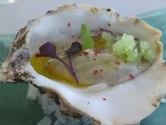 Guillardeau oyster with lime granité  vinicolas by Raul Aleixandre, a former michelin star chef  http://www.foodandwineratings.com/restaurant/A5817916-D833-4B05-A890-D8607F4201E3/vinicolas.aspx
