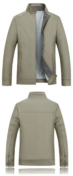 Business Casual Thin Stand Collar Solid Color Jackets for Men