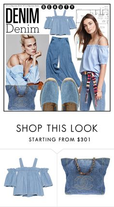 """""""Denim #4"""" by yvettemmh ❤ liked on Polyvore featuring SJYP, Forever 21, H&M, Chanel, Castañer and denim"""