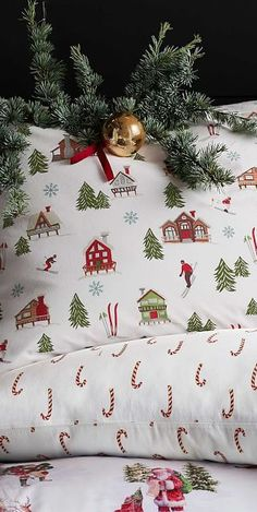 Ski Lodge Christmas Bedding: Wonderfully warm and cozy, you'll love this Ski Lodge Print Organic Sheet Set, featuring the whimsy and charm of the holiday season. Christmas Lodge, Cosy Christmas, Rustic Christmas, Christmas Coal, Christmas Bed Sheets, Christmas Bedding, Master Suite, Neutral Bedroom Decor, Ikea