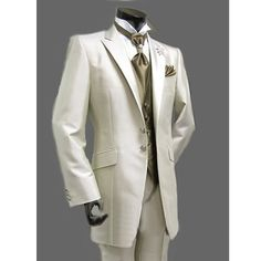 Mens Off White Two Button Single Breasted Prom Wedding Tuxedos Suits SKU-123033