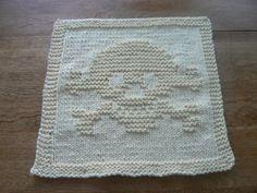 Hand #Knit #Skull and Cross Bones Jolly Roger #Dishcloth or #Washcloth #Handmade by #hollyknittercreations #ArtFire