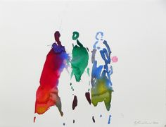 Oskar Koller Three Figures  watercolor 2000 Watercolor Face, Watercolor Portraits, Watercolor Paintings, Watercolours, Diy Wall Painting, Diy Wand, Painting People, Whimsical Art, Medium Art