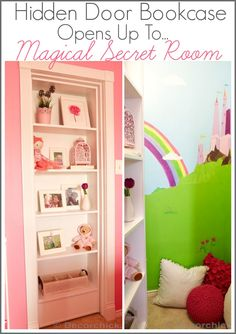 """Hidden Door Bookcase Opens Up to Magical Secret Room. Rather Than A """"Magical Secret Room"""" I Wonder About One Day Turning Playroom In NM House Into A Secret Room For Gregory. Bookcase Closet, Hidden Door Bookcase, Bookshelves, Hidden Rooms, Secret Rooms, Room Doors, Reno, Little Girl Rooms, Kid Spaces"""