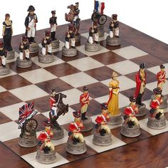 Hand Painted Napoleon  The Duke of Wellington Chessmen  Agostino Luxury Chess Board from Italy >>> Want additional info? Click on the image.